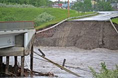 Washed out embankment near Oil refinery Turner Valley