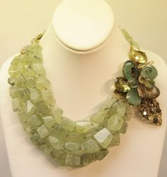 How beautiful, Iradj Moini Necklace - flourite amethyst topaz with green aventurine stones, becomes a pin