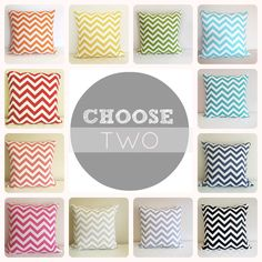 Two Chevron  Pillow Covers. 20 X 20 Inch. Accent Pillows. Pink, Blue, Turquoise, Black, Gray, Orange, Green, Yellow. $32.00, via Etsy.