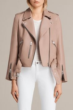 AllSaints New Arrivals: Blush Pink Balfern Biker. The best selling Balfern Biker Jacket is cut in a slim fit, crafted from butter-soft lamb leather in a blush pink hue. Finished with classic motorcycle-inspired details including zip cuffs and a belted hem, this biker silhouette is an all-time favourite, loved for its timeless style and flattering fit.