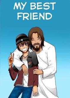 My Best Friend by GabrielRaven on DeviantArt Jesus Is My Friend, Jesus Is Life, My Best Friend, Jesus Art, God Jesus, Christian Memes, Christian Life, Jesus Drawings, Jesus Cartoon