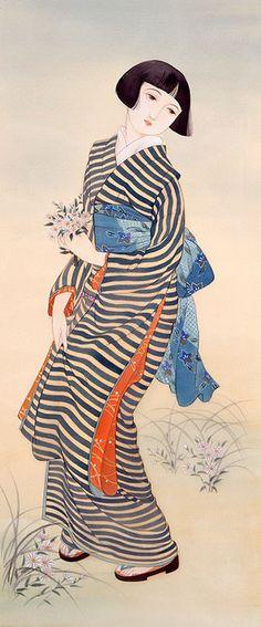 Art-piece by Tsukuda Kisho, Japan Japanese Geisha, Japanese Kimono, Vintage Japanese, Japanese Girl, Japan Illustration, Botanical Illustration, Japanese Drawings, Japanese Prints, Art Asiatique