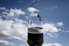 Oct. 12, 2012. A gendarme attends an acrobatic music show of street artists in Vallon Pont d'Arc, France | Jeff Pachoud—AFP/Getty Images
