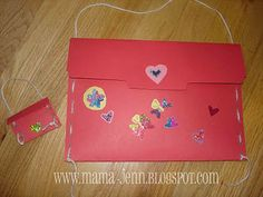 Heart Valentine Holder Made from a Brown Paper Grocery Bag  Brown