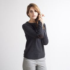 www.everlane.com - Cashmere Crew Charcoal w/ Patches-great new clothing concept