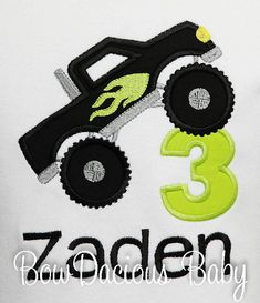 Monster Truck Birthday Shirt. Custom made to your specifications. You pick the fabrics and font. Any age.