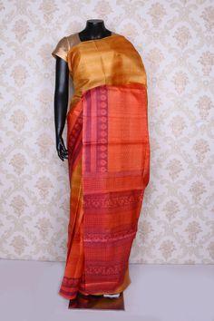 Charming #peach multi color printed pure #tussar silk #saree -SR12535