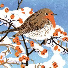 'Friendly Robin' By Printmaker Lynda Durrant. Blank Art Cards By Green Pebble. www.greenpebble.co.uk