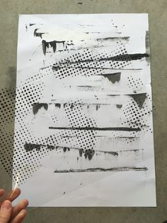 Juxtaposing forms. Base sheet created using squeegee and acrylic paint. Almost using a stamp-like motion where I would place the squeegee on the page and lightly drag it to create drips/extensions of the paint. Again using the screen printed acetate sheet of fading dots to layer/contrast mediums. Trying to create a distorted image that is intriguing and full of mixed directions and tone.
