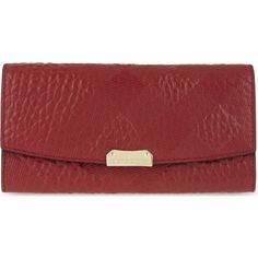BURBERRY Porter leather clutch ($510) ❤ liked on Polyvore featuring bags, handbags, clutches, military red, flap purse, red purse, leather flap purse, military fashion and red leather purse