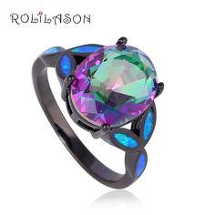 Women 10Kt Black Gold Jewelry Mystic Rainbow Topaz Blue fire Opal ring fashion jewelry OR750