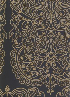 Alpana Wallpaper Wallpaper with gold design printed on black