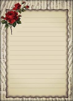 I designed this elegant stationery using scraps of sheet music, one of my favorite doillies and added the rose spray for elegance. It prints two