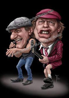 Arte da caricatura de Brian / Angus do AC / DC, Rocking out! Ac Dc, Brian Johnson, Angus Young, Caricature Artist, Caricature Drawing, Funny Caricatures, Celebrity Caricatures, Heavy Metal, Cartoon Faces