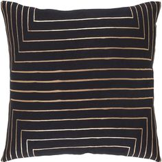 Decorative Rossiare Down or Poly Filled Pillow (Polyester - Brown/Black), Size 22 x 22 (Cotton, Abstract)