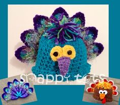 snappy tots: Birds of a feather are flocking.  Peacock hat.  Same pattern for thanksgiving turkey