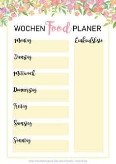 Kostenlose PDF Wochen-Planer & Essensplan Printables Best Picture For Meal Planning chart For Your Taste You are looking for something, and it is going to tell you exactly what you are looking for, an Meal Planning Chart, Meal Planning Printable, Printable Planner, Free Printables, Healthy Choices, Healthy Life, Easy To Digest Foods, Budget Planer, Good Notes