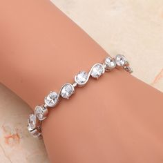 b926998250f Top quality Shining Zirconia White Gold Tone White Crystal Bracelets Health  Nickel   Lead free fashion