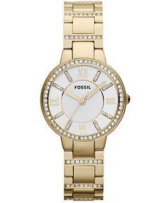 Fossil Watch, Women's Virginia Gold-Tone Stainless Steel Bracelet 30mm ES3283