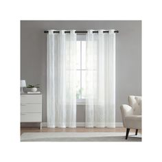 Vcny 2-pack Empire Embroidered Sheer Window Curtains, White