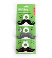 Mustache Bag Clips -stocking stuffers for men