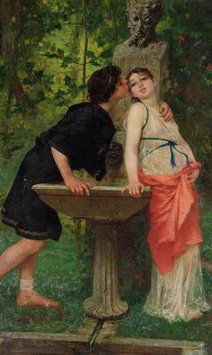 Lovers By A Fountain Painting - Lovers By A Fountain by Modesto Faustini