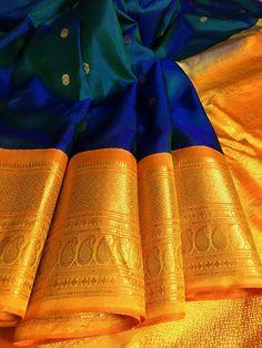 Turmeric Yellow and Greenish Blue Color Gadwal Saree – IndyVogue
