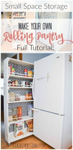 to Build a Small Space DIY Pantry FULL TUTORIAL! Build your own Rolling Pantry! Amazing space saver and organization for your kitchen. Build your own Rolling Pantry! Amazing space saver and organization for your kitchen. Small Space Storage, Small Space Organization, Organizing Ideas, Storage Spaces, Storage Ideas, Kitchen Organization, Craft Storage, Home Staging Tipps, Small Apartments