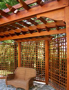Pergola with Privacy Lattice No. BP11 - by Trellis Structures