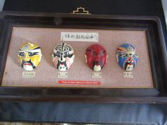 There are 4 types of facial masks along with the names in Chinese, This is a very unique item. On the back it states a Chinese paragraph, then below that it states in English The Chinese Face-Painting Art.   eBay!