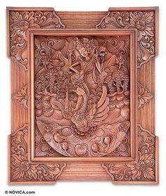 Wood relief panel - Elegant Saraswati - NOVICA