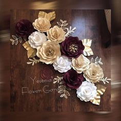 Maroon, Ivory and White Paper Flower set - custom colors also available. All paper flowers come with velcro or a piece for wire in the back for easy handing.