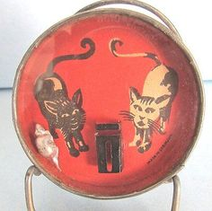 Vintage-Germany-DEXTERITY-PUZZLE-Toy-Black-White-CAT-Kitten-Mouse-Mirror-Back
