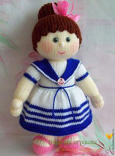 """Купить """"Моя морячка"""" вязаная кукла - кукла, вязаная кукла, интерьерная кукла, игровая кукла ♡"""