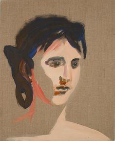 Allison Katz, Corot Head #12, 2007, Oil on line