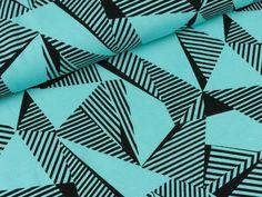 Baumwolljersey Malo Große Dreiecke schwarz auf Helltürkis | Das hüpfende Komma
