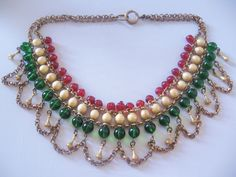 Vintage Brass Red-Green Glass Bead and Faux Pearl Bib Necklace