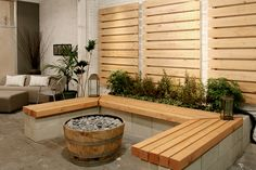 bench with cinder block base and wooden bench and built-in planter. Outdoor Spaces, Outdoor Ideas, Backyard Ideas, Outdoor Decor, Garden Ideas, Cinder Block Bench, Bench Designs, Real Life, Planters