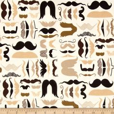 Nicole's Prints A Must Stache Flannel Tea from @fabricdotcom  Designed by the DeLeon Design Group for Alexander Henry, this single-napped cotton flannel is perfect for quilting, apparel and home decor accents.  Colors include cream, black, dark brown and shades of tan.