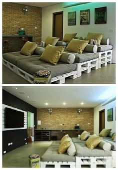 home theater ideas This pallets idea will turn your movie nights into comfortable ones and in a cooler way than single seats. Moreover, its an easy and cheap way to do a personal home theater.the only thing you need to do this project is a big room! Best Home Theater, Home Theater Setup, Home Theater Seating, Home Theater Design, Theater Seats, Movie Theater Rooms, Home Cinema Room, Movie Rooms, Movie Theater Basement