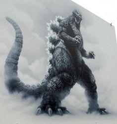 Godzilla on the wall, Tokyo.