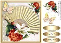 Beautiful Golden Fan And Flowers
