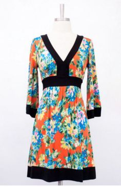 """Venechia print deep v-neck kimono style dress with tie back and bell sleeve. Orange and blue. Length is 33"""""""