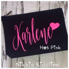 Personalised makeup bag, bridesmaid present, personalised makeup pouch, pencil case, personalised cosmetic purse. by NikkisKidsline on Etsy https://www.etsy.com/listing/541679725/personalised-makeup-bag-bridesmaid