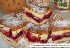 Krémes-szilvás pite Hungarian Desserts, Hungarian Recipes, Fall Desserts, Delicious Desserts, Yummy Food, Cookie Recipes, Dessert Recipes, Czech Recipes, Ethnic Recipes