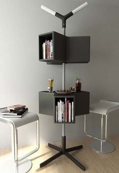 Black White Cube Bookcase And Twin Stool Multifunctional Furniture For  Small Spaces In Amazing Living Room