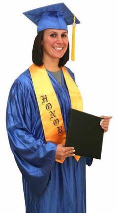 Matte Royal Blue Cap, Gown, Tassel & Stole | graduation---great ...