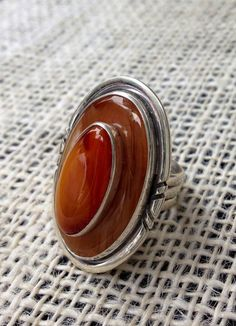 Double Stone African Cherry Amber Ring by silvertalismanartist, $285.00