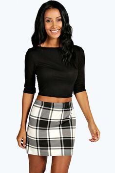 Hollie Mono Check Bodycon Mini Skirt