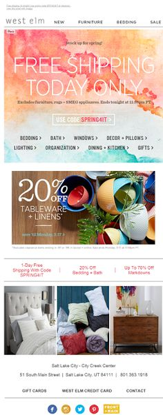 West Elm email 2014